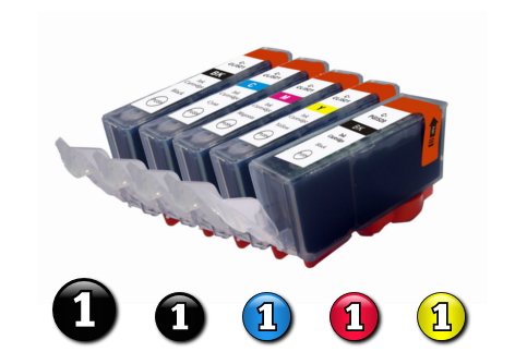 5 Pack Combo Compatible Canon ink cartridges (PGI520BK + CLI521BK/C/M/Y)